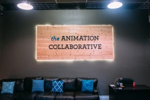 Wooden sign inside The Animation Collaborative